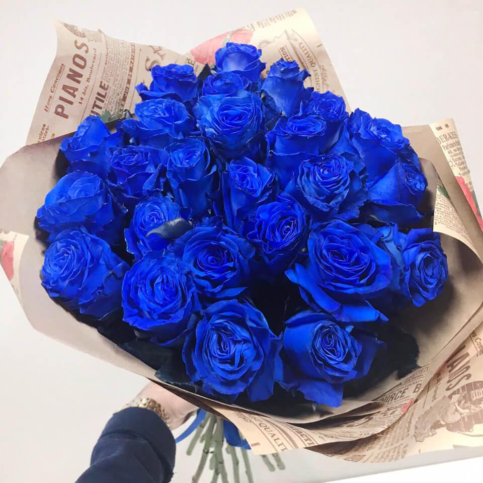 Букет 25 «Синих Роз» Kraft 60см