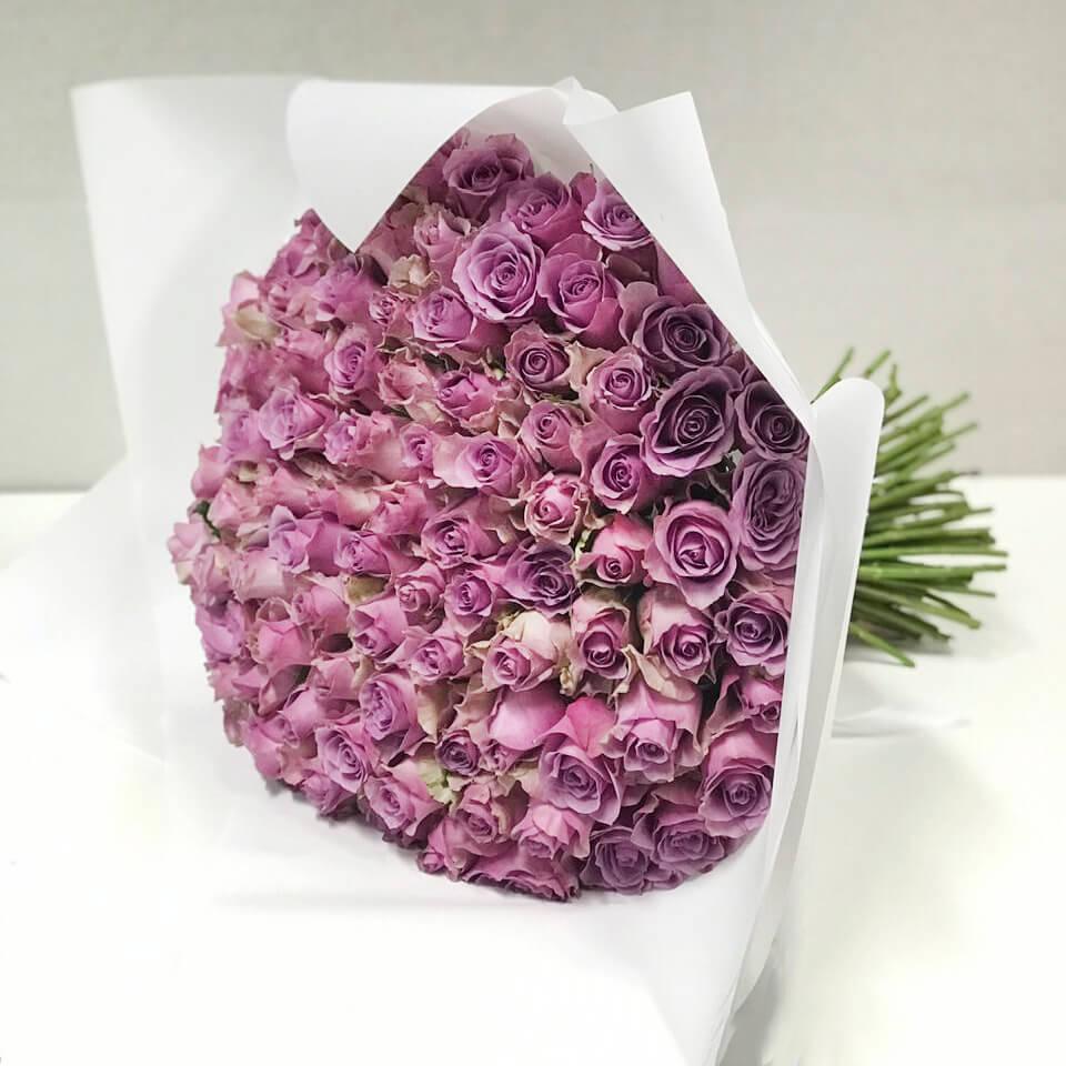 Букет 101 «Фиолетовая Роза» White 40см