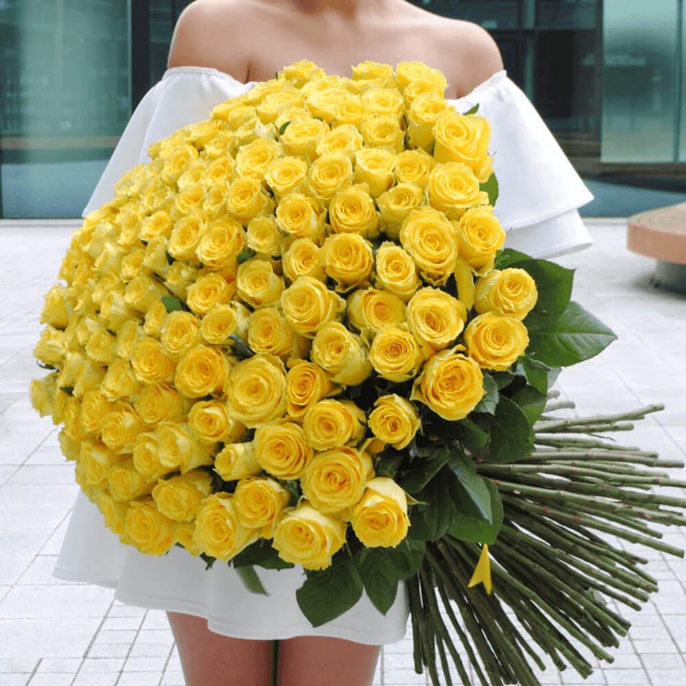 Букет 101 «Желтая Роза» 60см