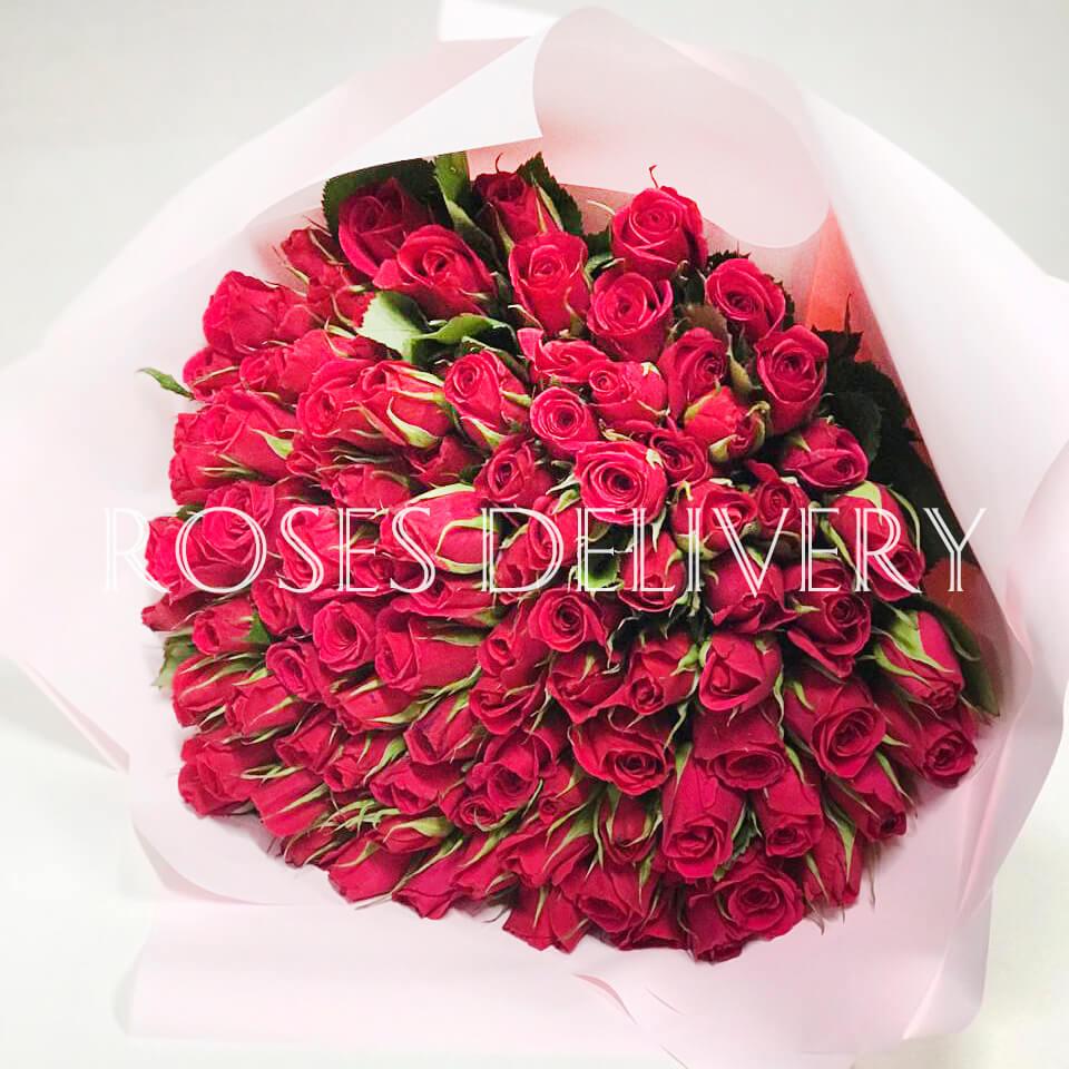 Букет 101 «Красная Роза» Pink 40см