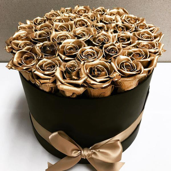 Коробка 25 «Золотых Роз» Black