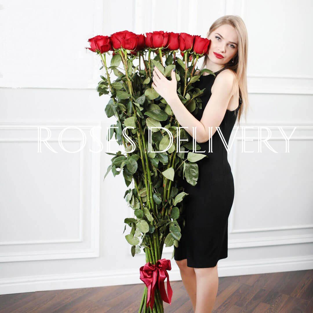 Букет 25 высоких роз 170 см