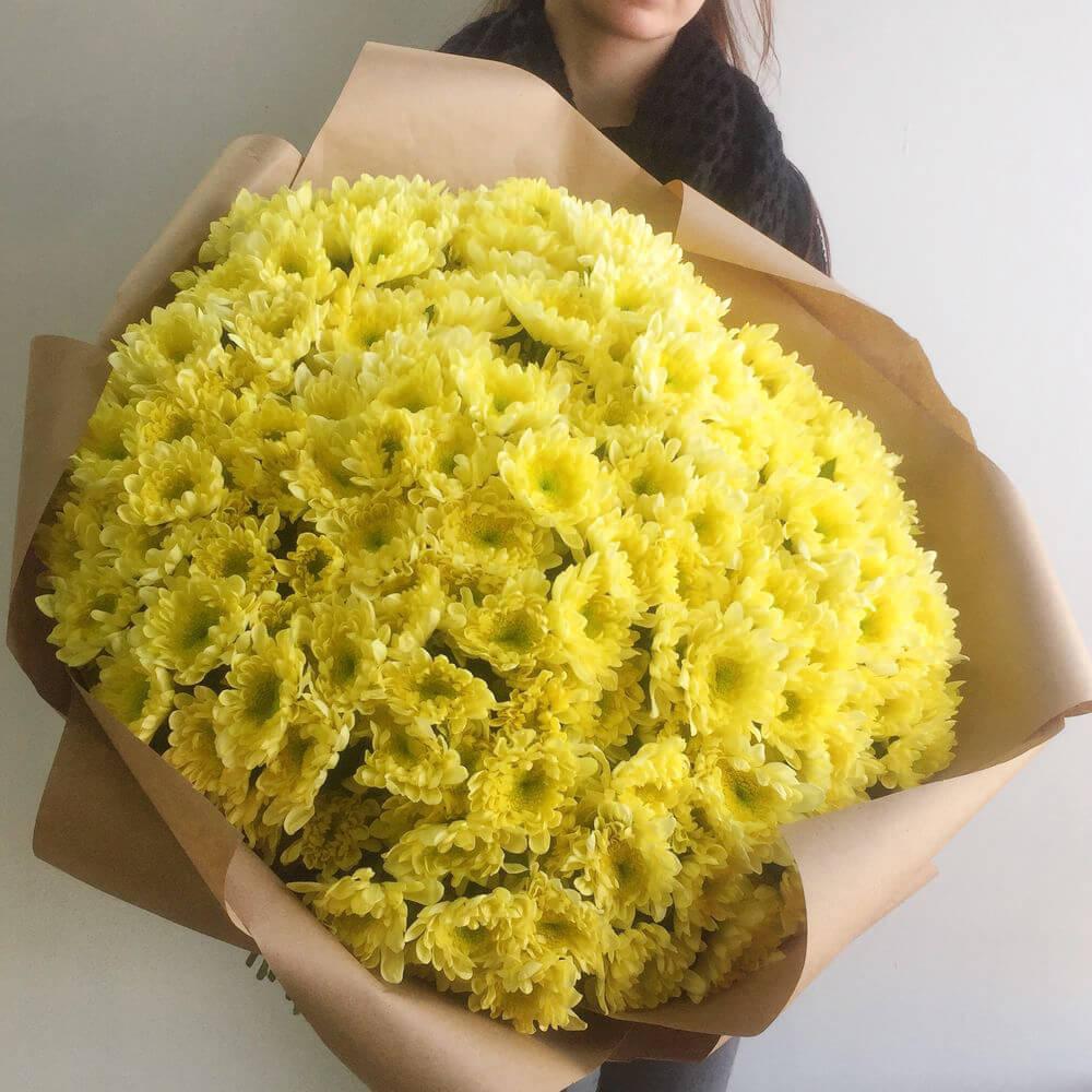 Букет 51 «Желтая Хризантема» Kraft 60см