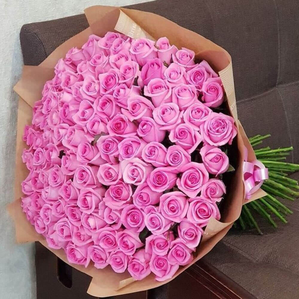 Букет 101 «Розовая Роза» Kraft 60см