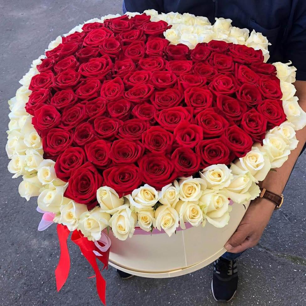 Коробка 151 «Красная Роза Сердце» White