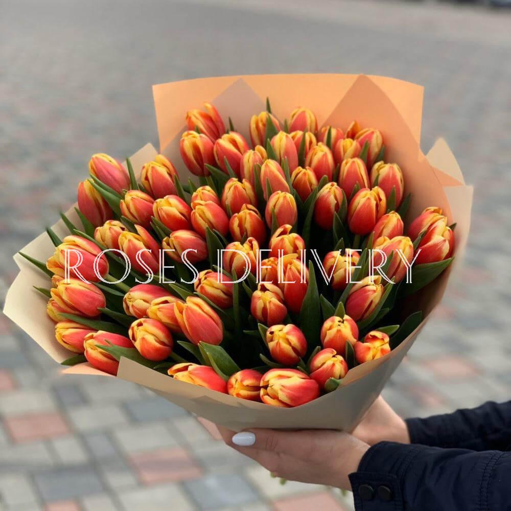 Букет 49 «Огненных Тюльпанов» Cream