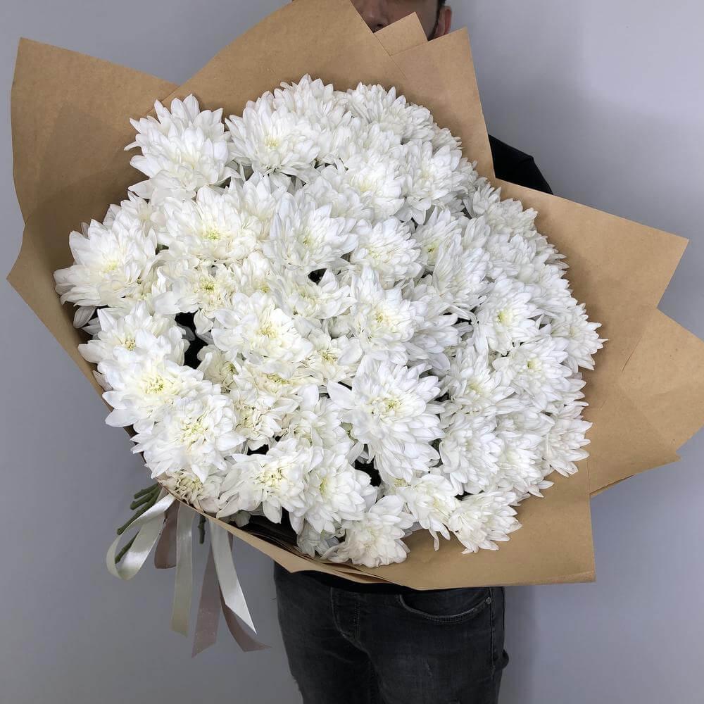 Букет 25 «Белых Хризантем» Kraft 60см