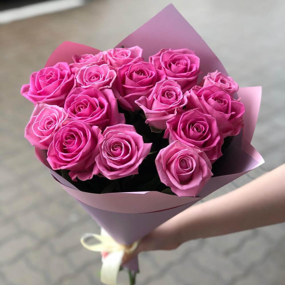 Букет 15 «Розовых Роз» Pink 55см