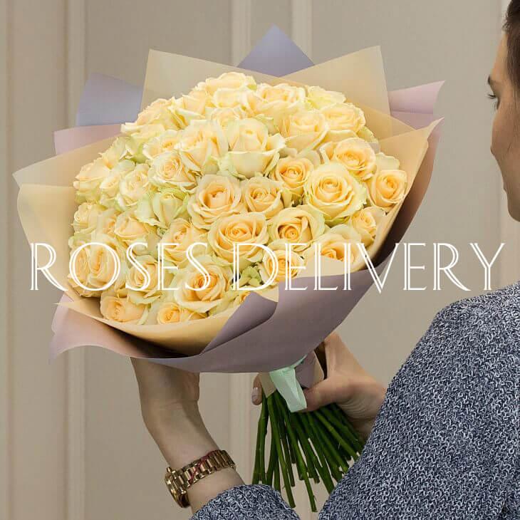 Букет 51 «Кремовая Роза» 55см