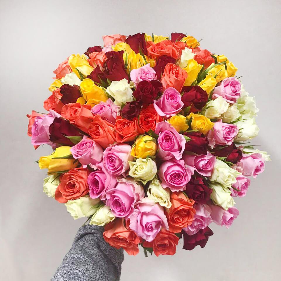 Букет 101 «Микс Роза» 40см