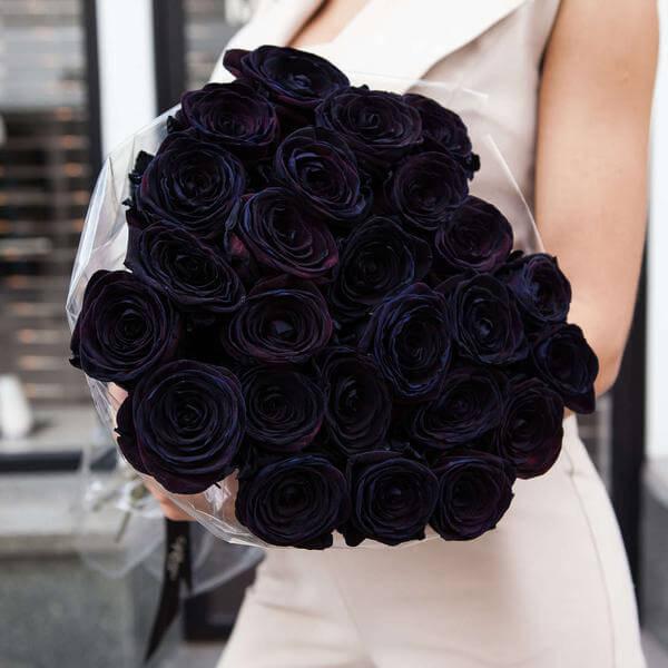 Букет 25 «Черных Роз» 55см
