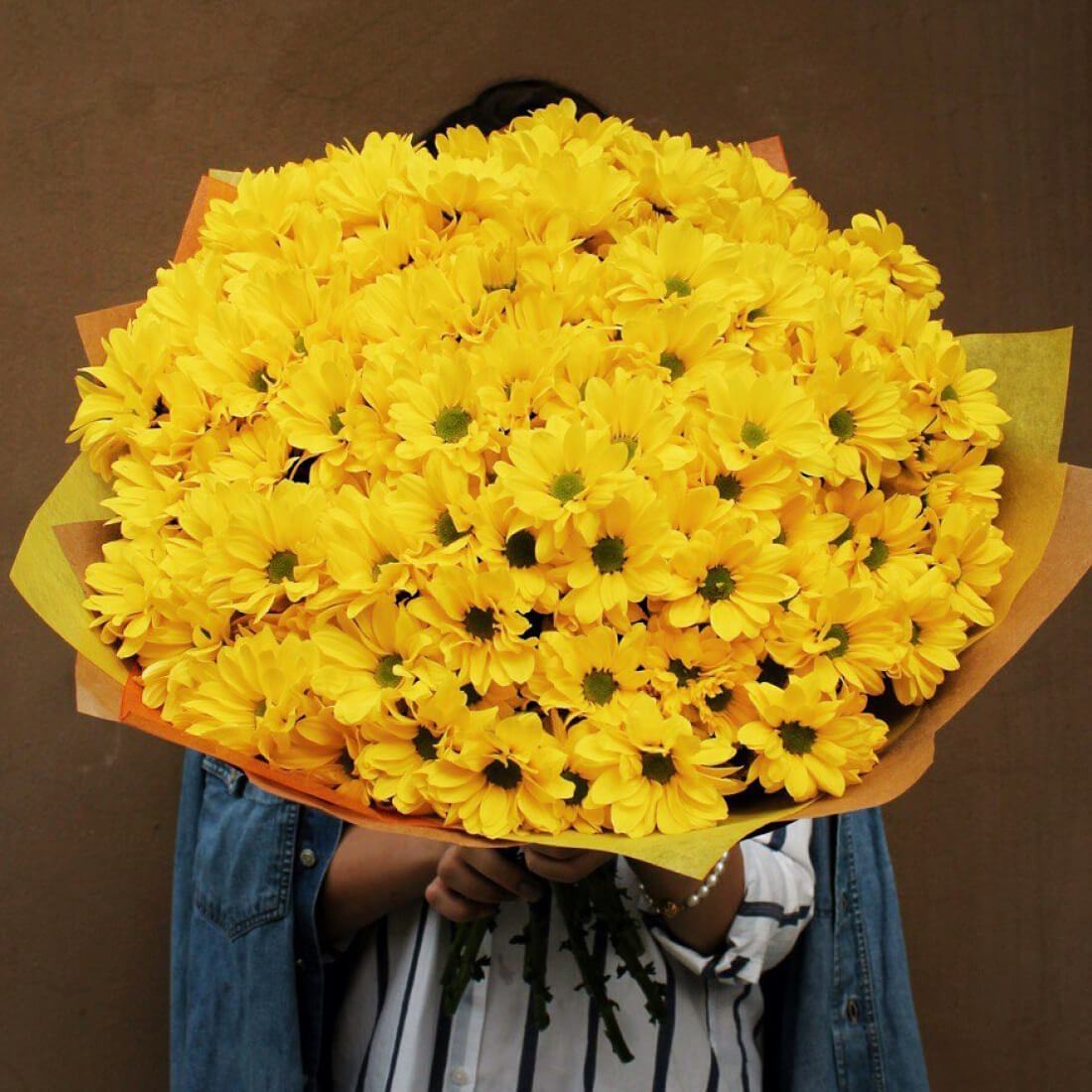 Букет 51 «Желтая Хризантема» Cream 60см
