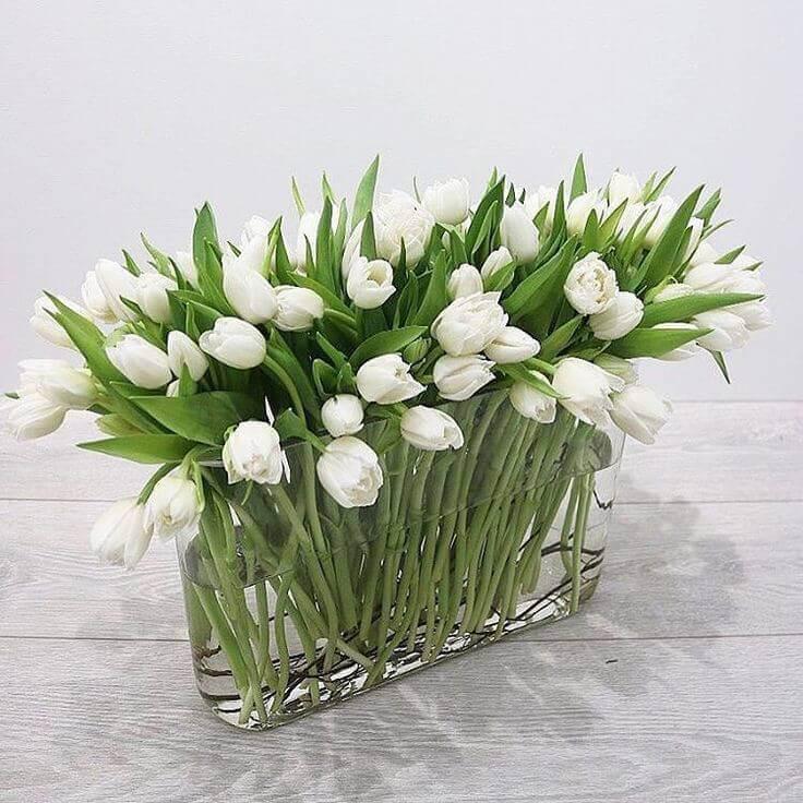 Букет 49 «Белых Тюльпанов» в Вазе