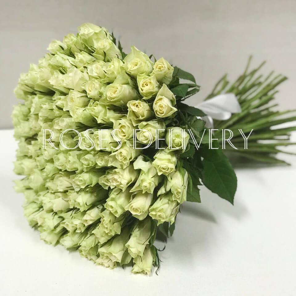 Букет 101 «Белая Роза» 40см