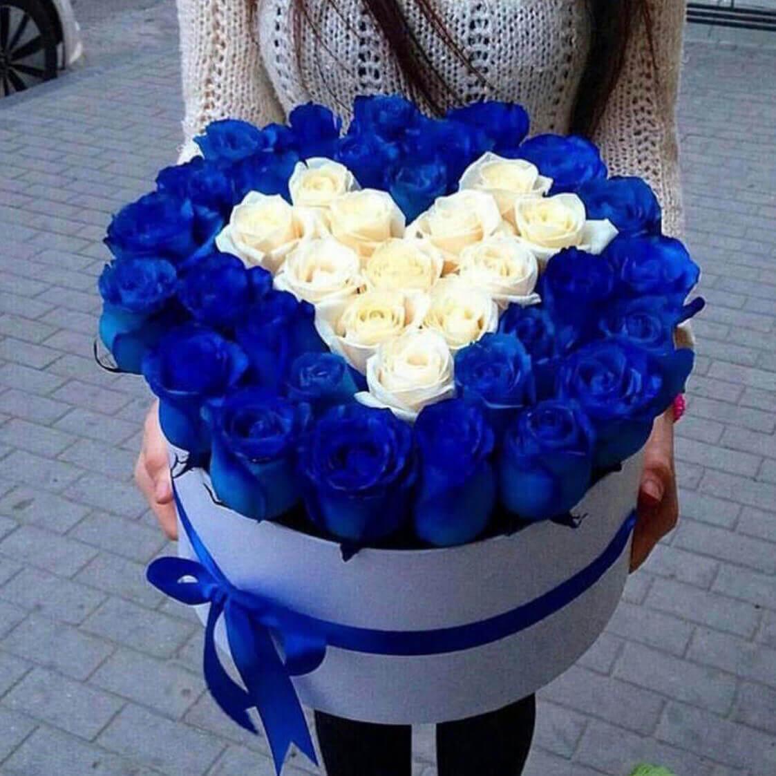 Коробка 35 «Синих Роз» Сердце