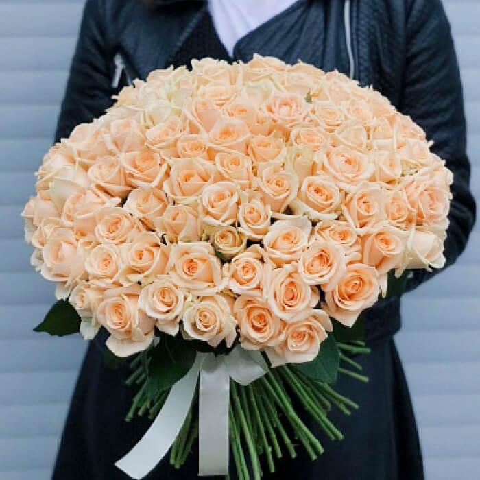Букет 101 «Кремовая Роза» 40см