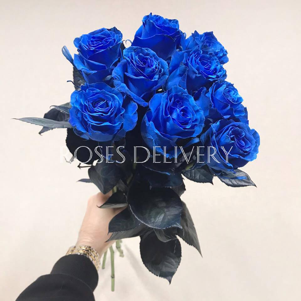 Букет 9 «Синих Роз» 55см