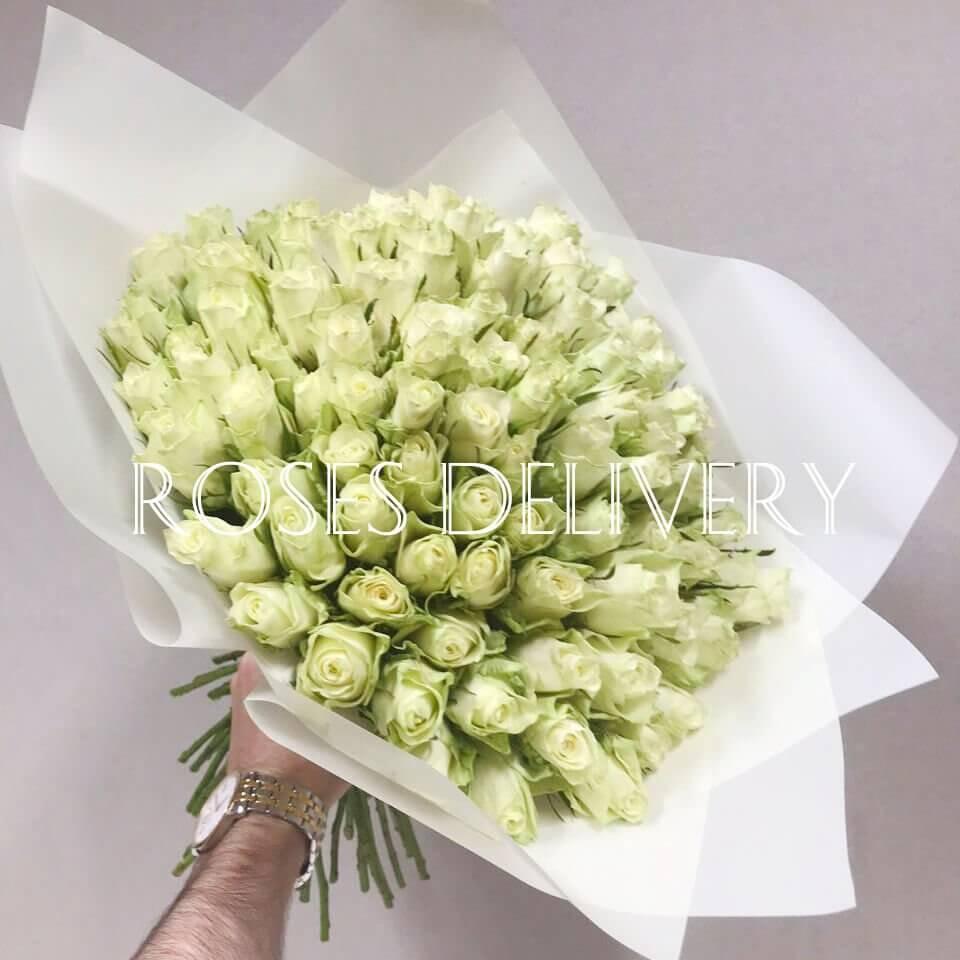 Букет 101 «Белая Роза» White 40см