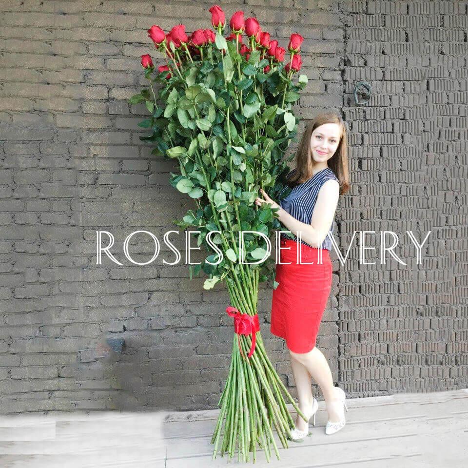 Букет 51 высокой розы 190 см