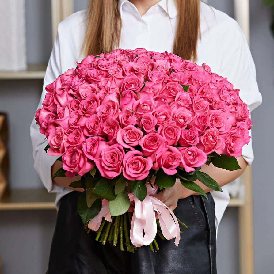 Букет 101 «Розовой Розы» 40см