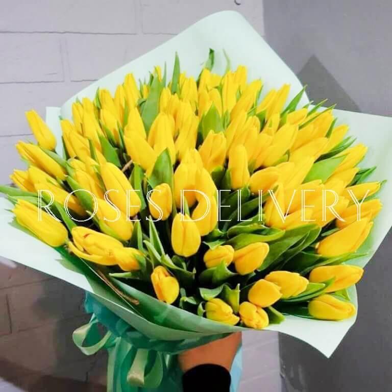 Букет 49 «Желтых Тюльпанов» Tiffany