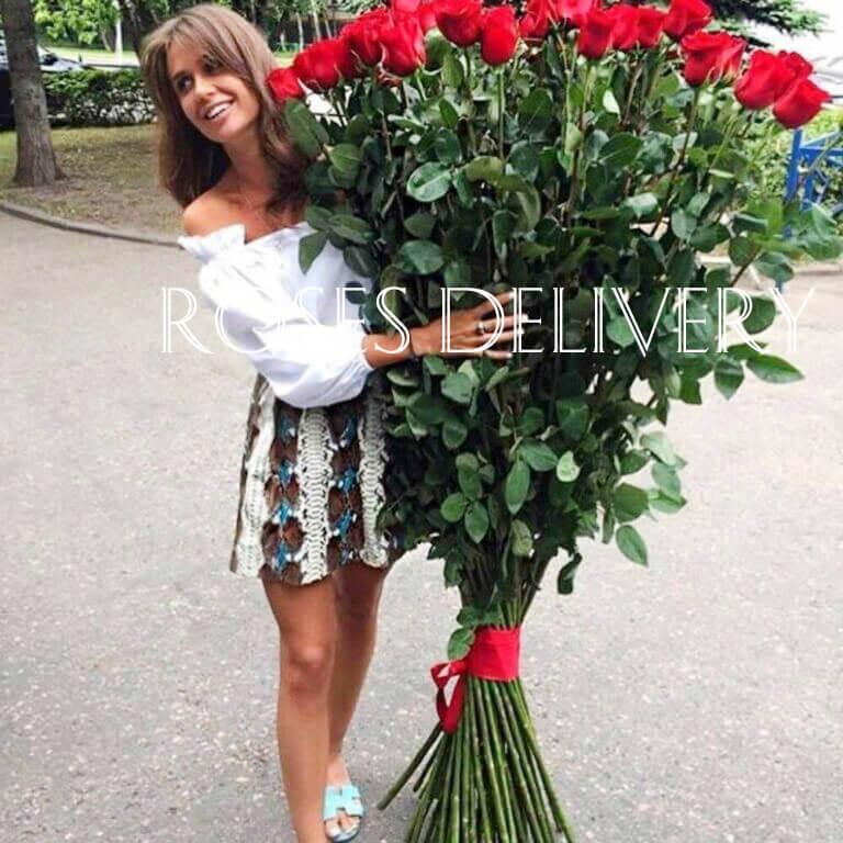 Букет 51 высокой розы 170 см