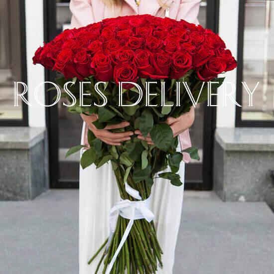 Букет 51 высокой розы 100 см