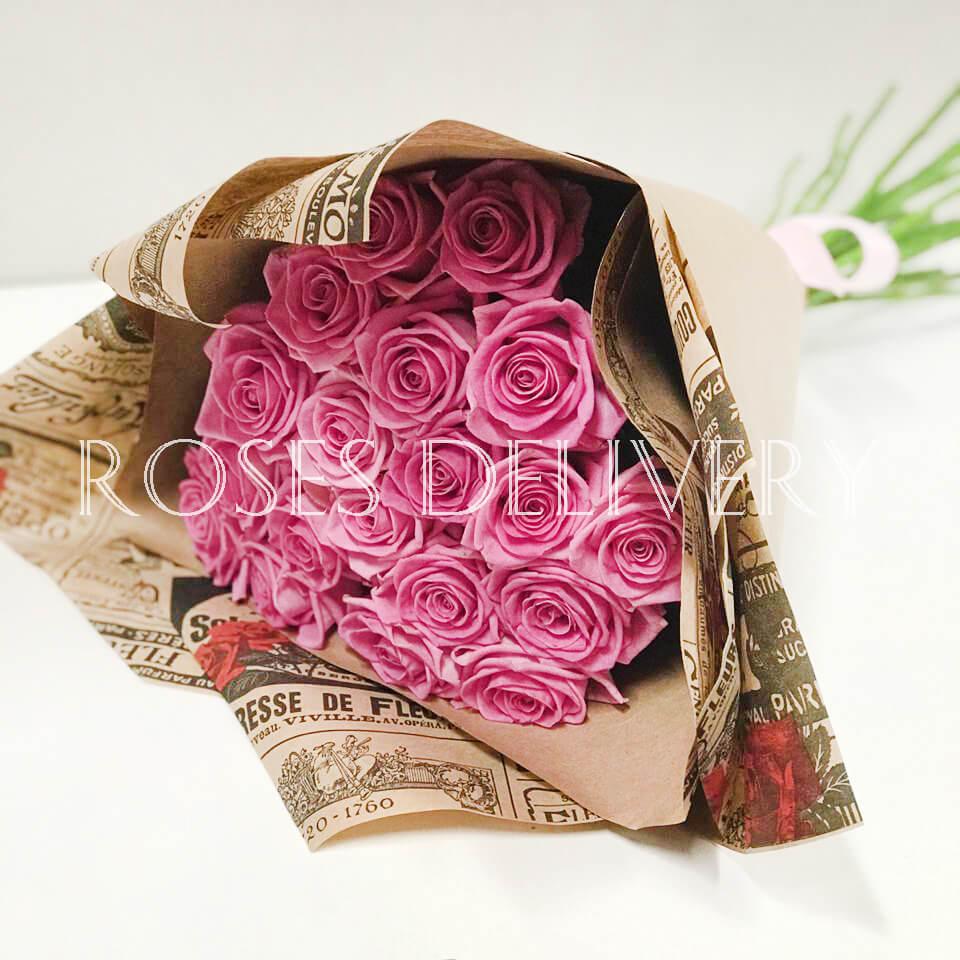 Букет 19 «Розовых Роз» Kraft 55см