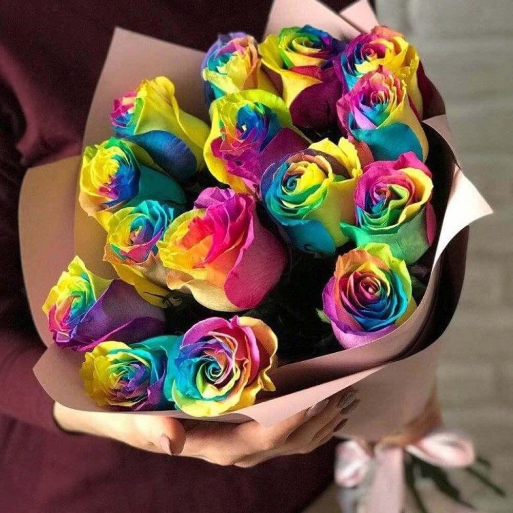 Букет 15 «Радужных Роз» Pink