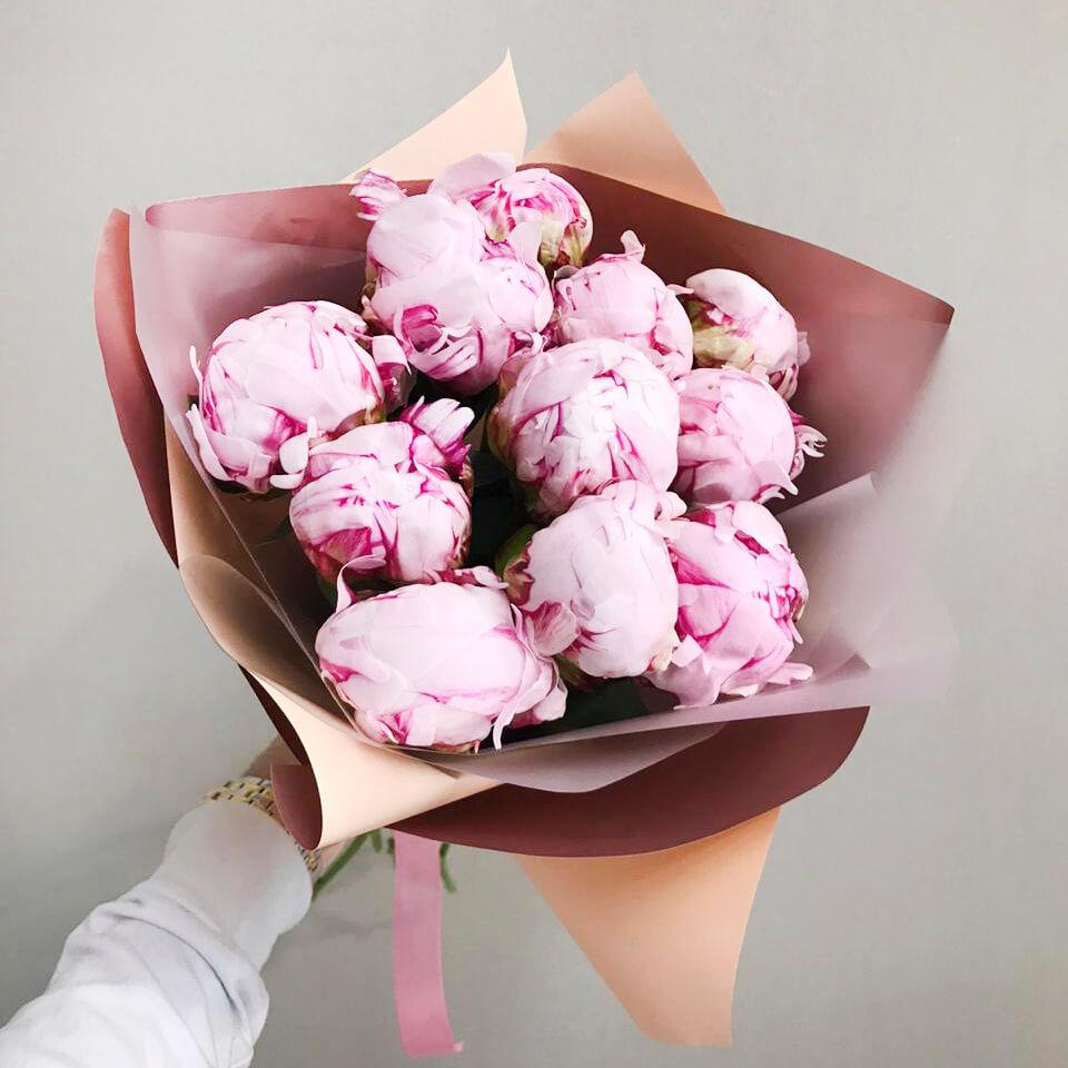 Букет 11 розовых пионов Сара Бернар