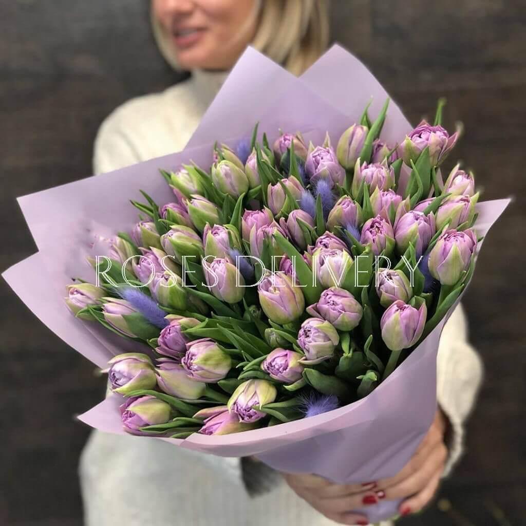 Букет 49 «Фиолетовых Тюльпанов» Purple