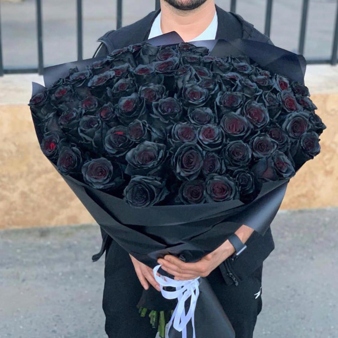 Букет 51 «Черная Роза» Black 55см