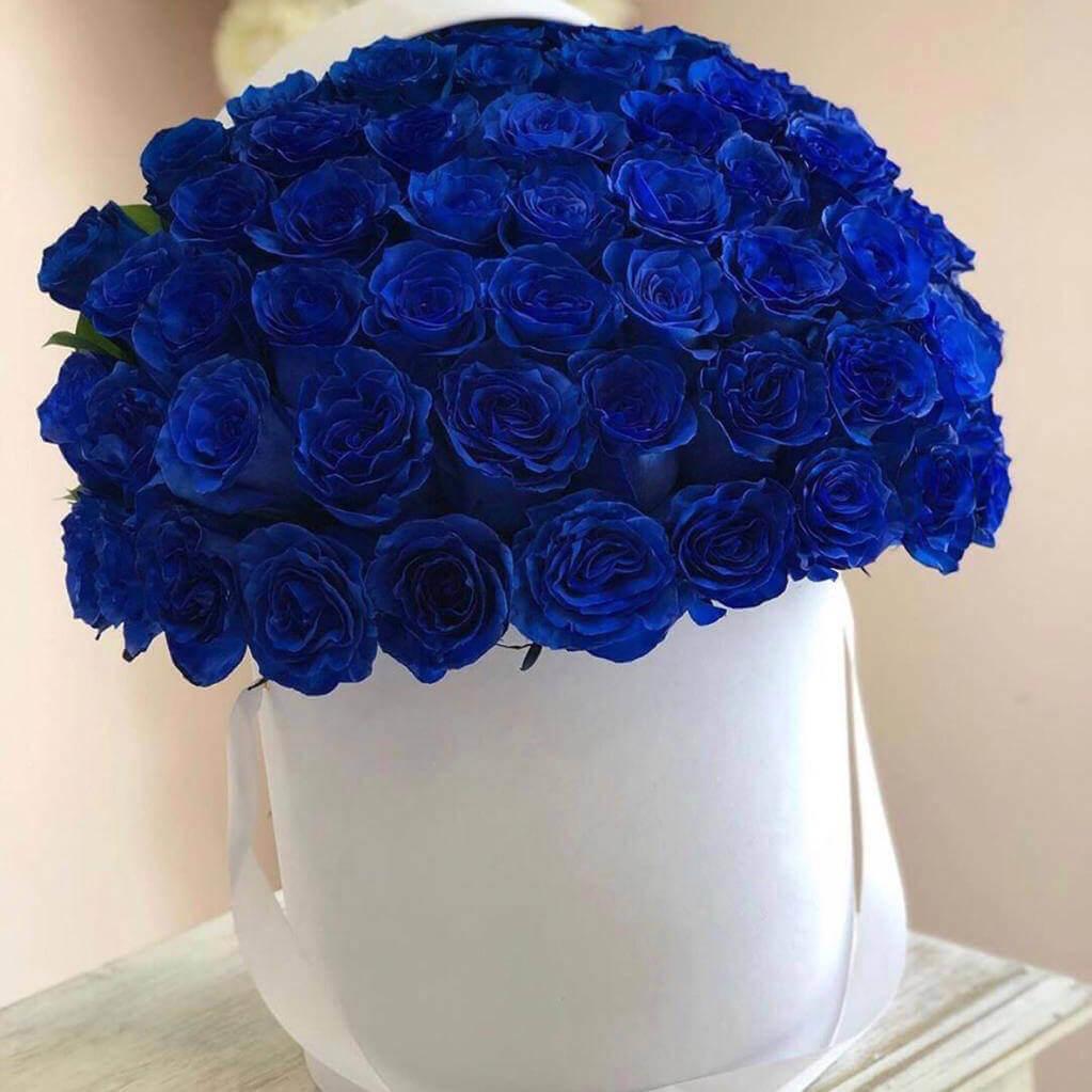 Коробка 75 «Синих Роз» White