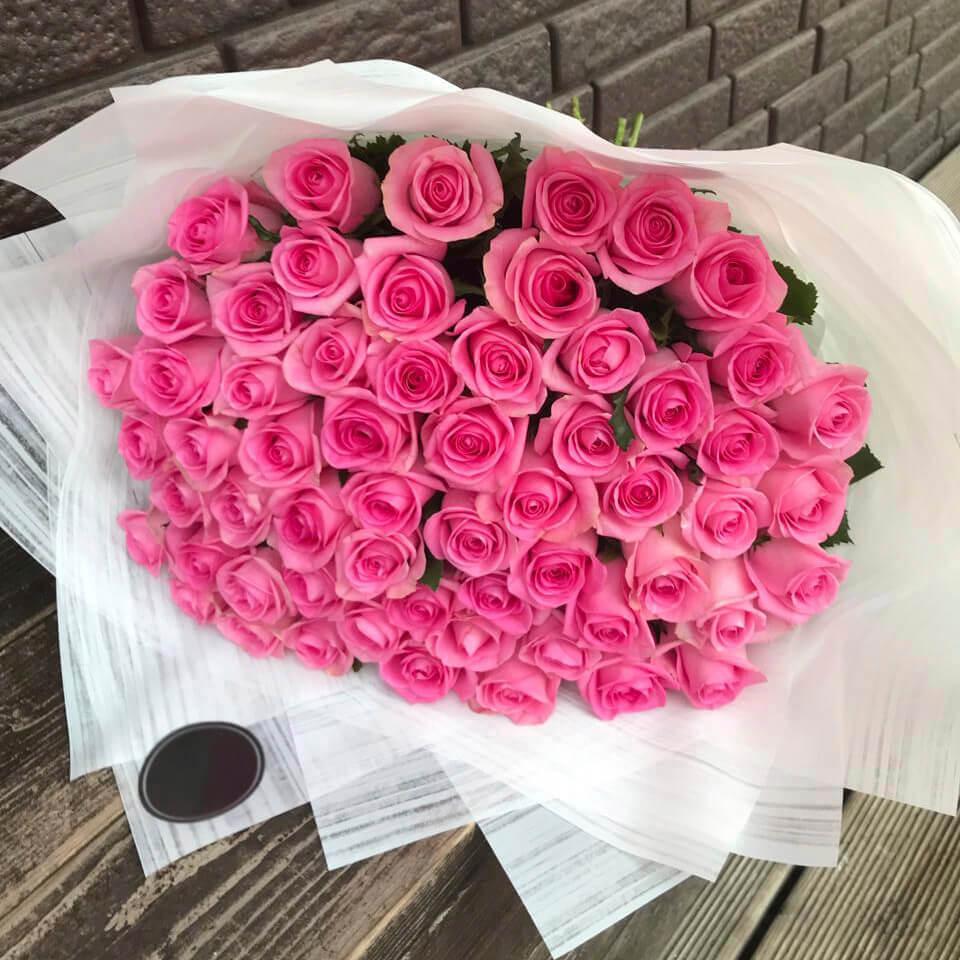 Букет 51 «Розовая Роза» White