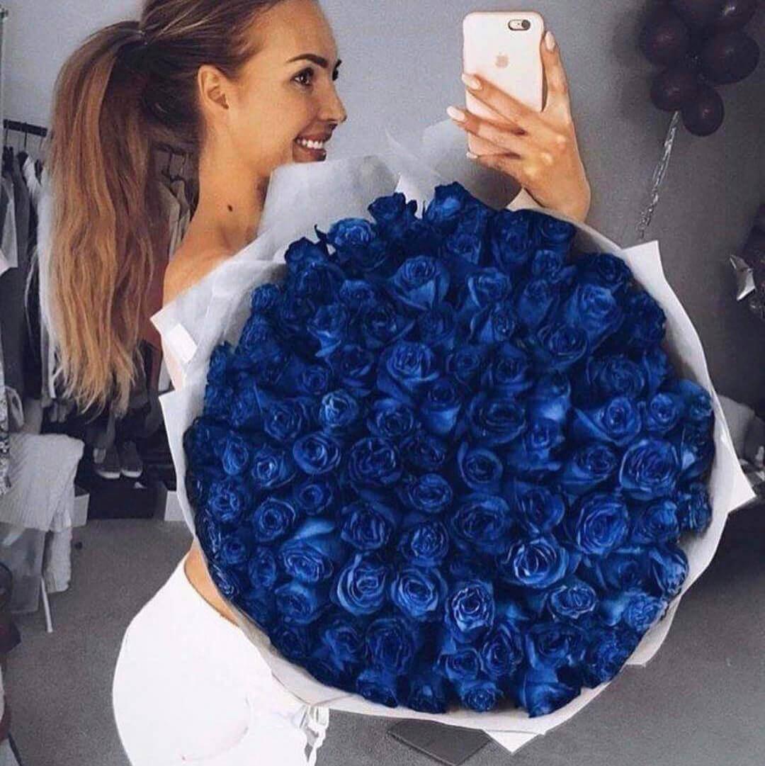 Букет 75 «Синих Роз» White