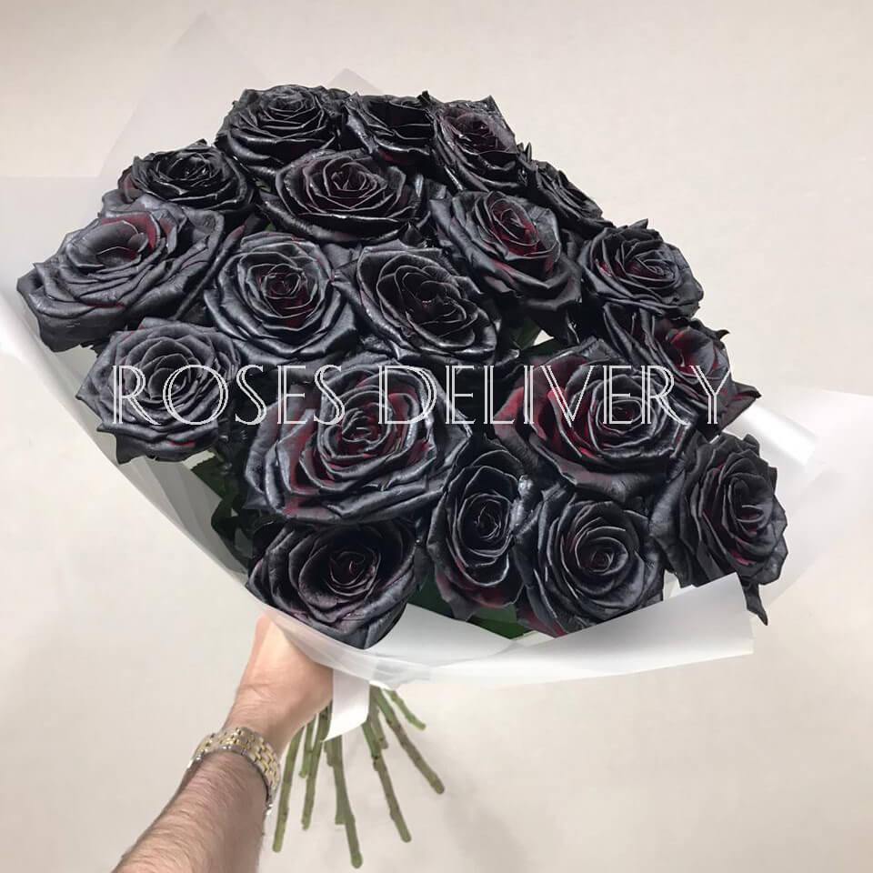Букет 19 «Черных Роз» White 55см