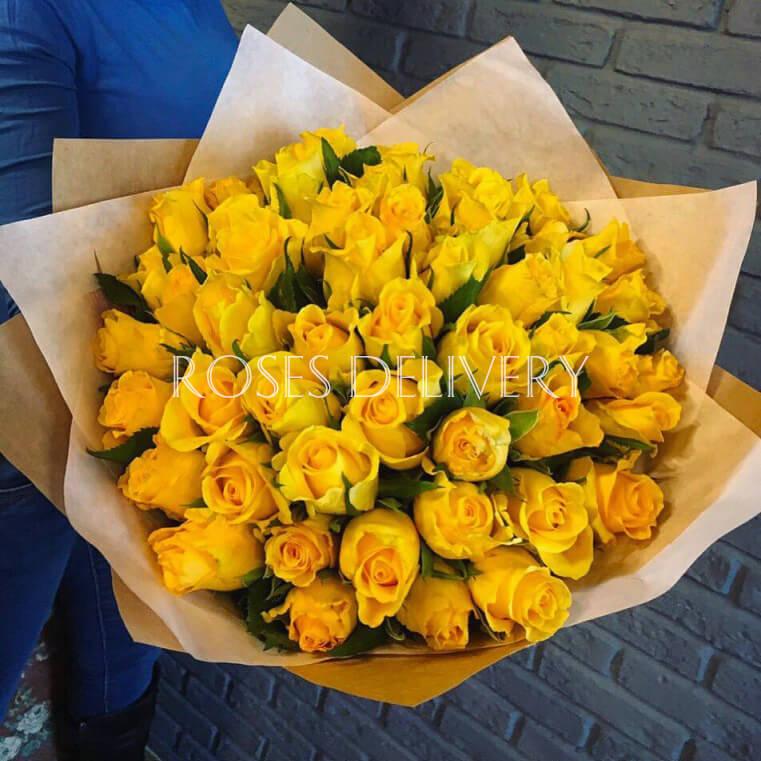 Букет 39 «Желтых Роз» Cream 40см