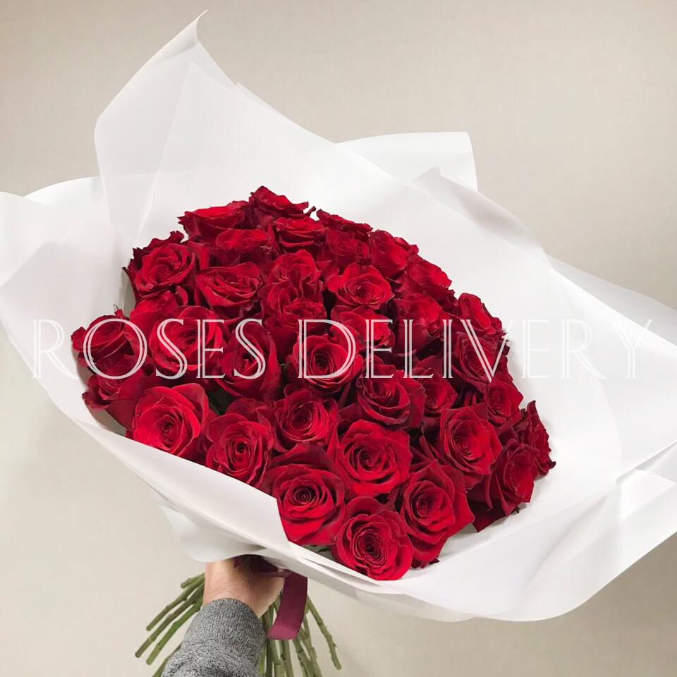 Букет 45 «Красных Роз» White 55см