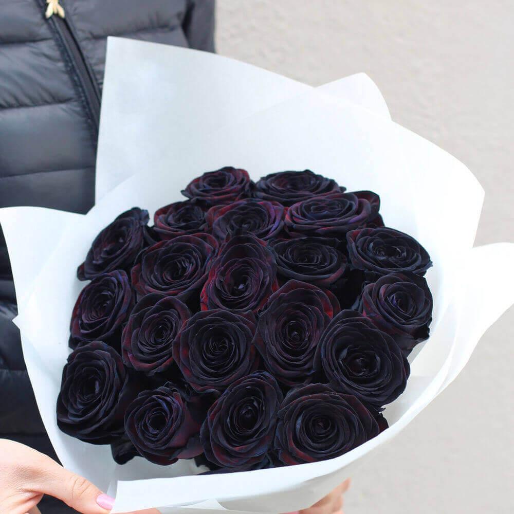 Букет 15 «Черных Роз» White 60см