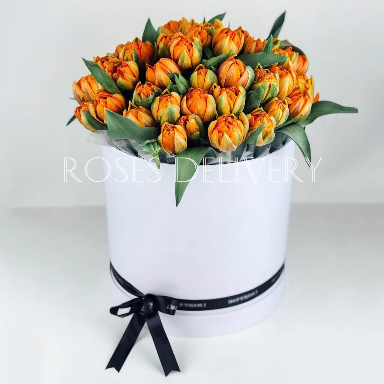 Коробка 49 «Оранжевых Тюльпанов» White