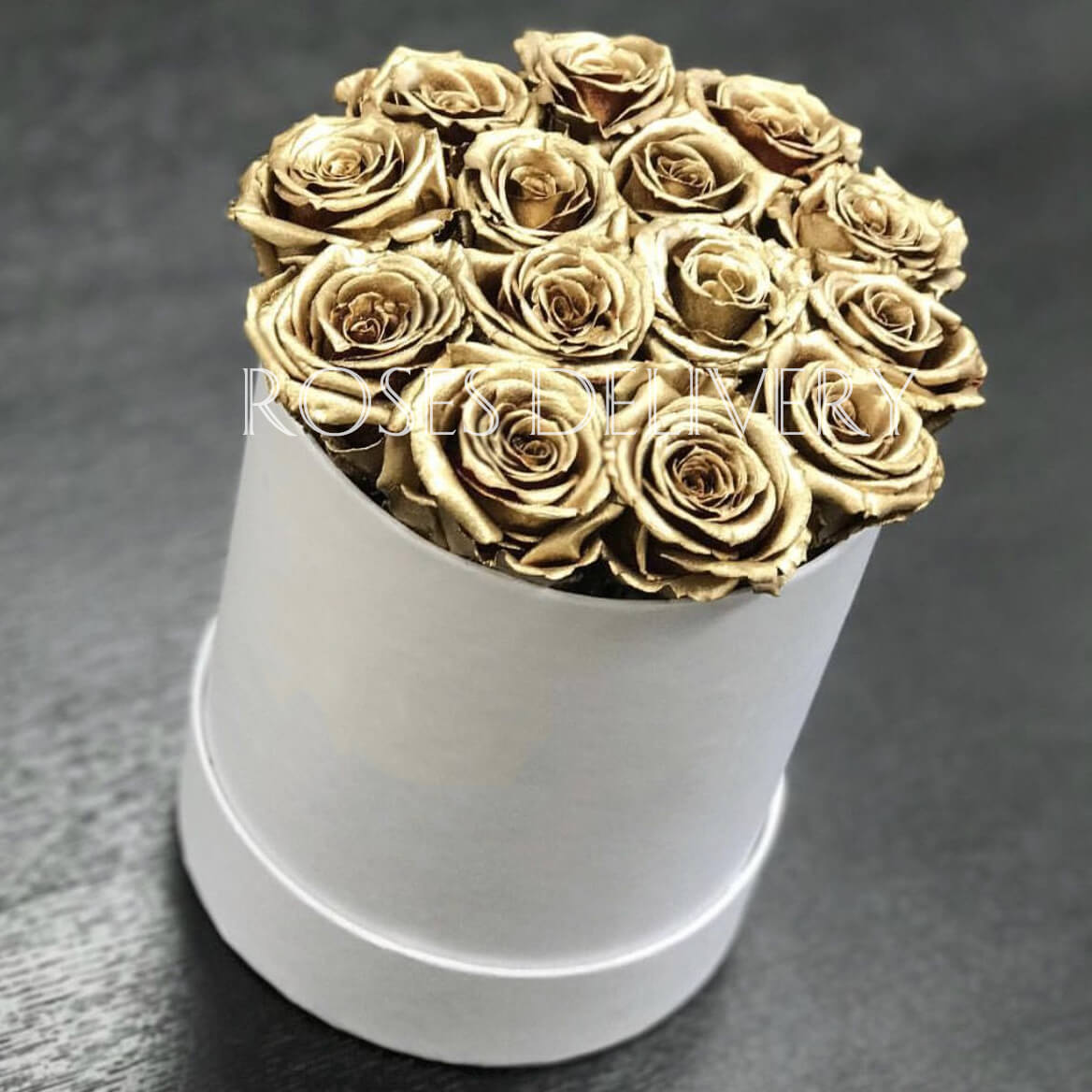 Коробка 15 «Золотых Роз» White
