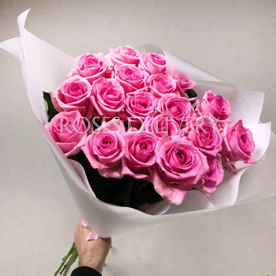 Букет 19 «Розовых Роз» White 60см