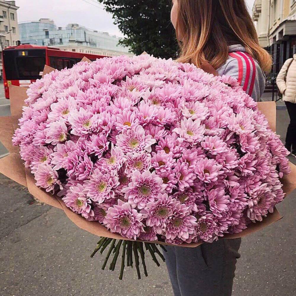 Букет 75 «Розовых Хризантем» Kraft 60см