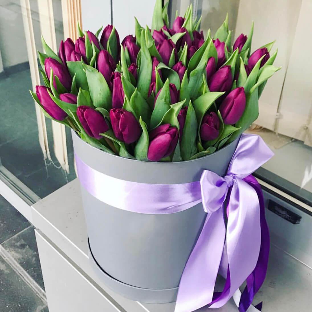Коробка 49 «Фиолетовых Тюльпанов» Grey