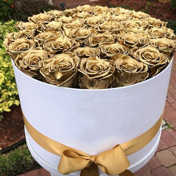 Коробка 25 «Золотых Роз» White
