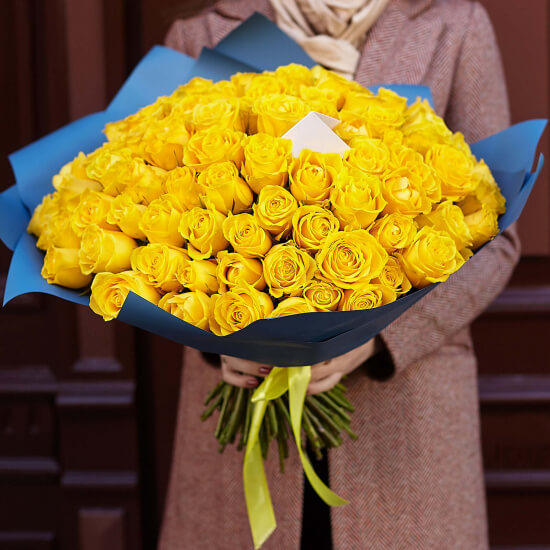 Букет 101 «Желтая Роза» Blue 40см