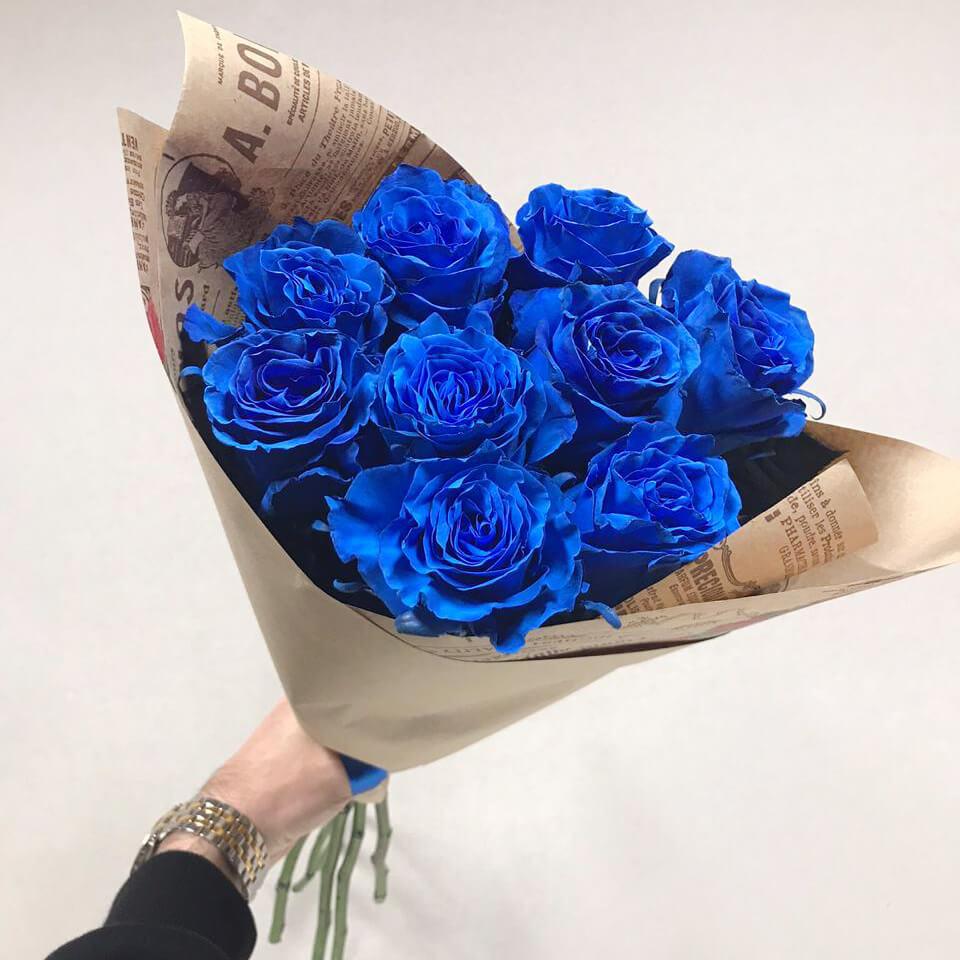 Букет 9 «Синих Роз» Kraft 55см
