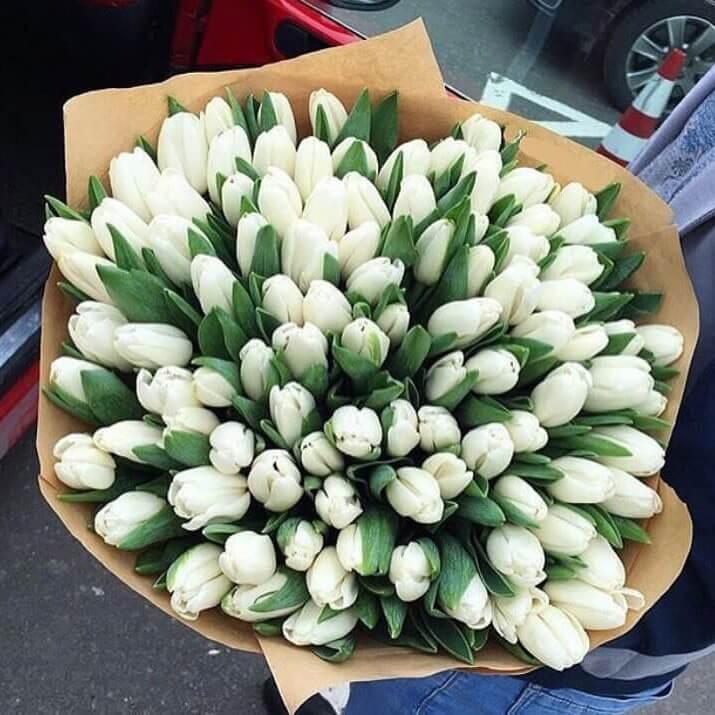 Букет 101 «Белый Тюльпан» Kraft