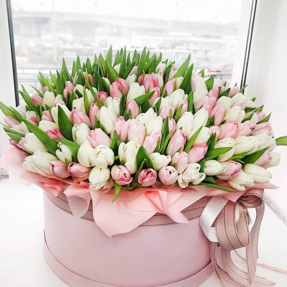 Коробка 201 «Тюльпан Микс» Pink