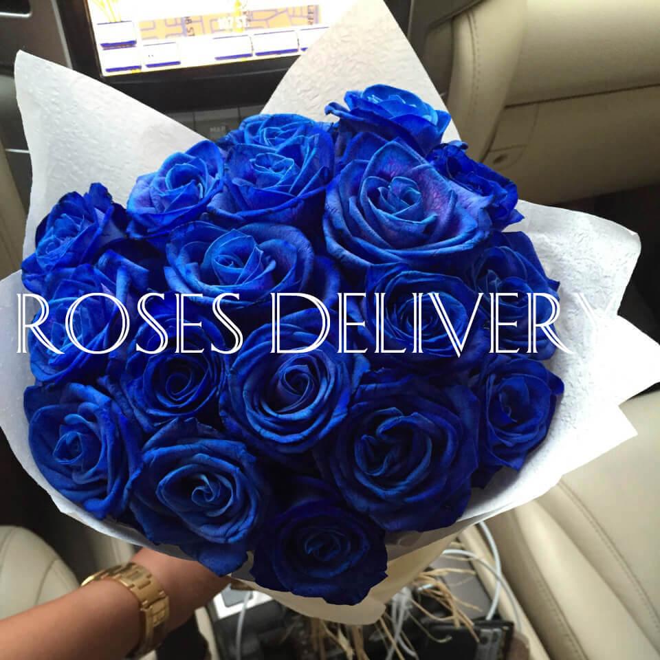 Букет 15 «Синих Роз» White